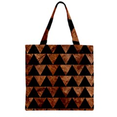 Triangle2 Black Marble & Brown Stone Zipper Grocery Tote Bag by trendistuff
