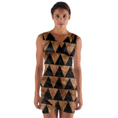 Triangle2 Black Marble & Brown Stone Wrap Front Bodycon Dress by trendistuff