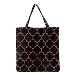 Tile1 Black Marble & Brown Stone Grocery Tote Bag by trendistuff