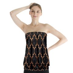 Tile1 Black Marble & Brown Stone Strapless Top