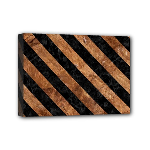 Stripes3 Black Marble & Brown Stone (r) Mini Canvas 7  X 5  (stretched) by trendistuff