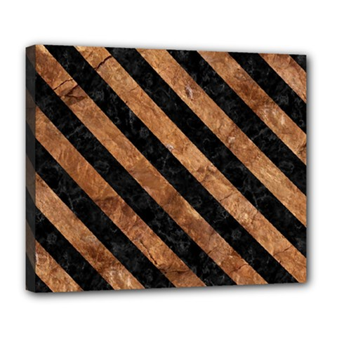 Stripes3 Black Marble & Brown Stone (r) Deluxe Canvas 24  X 20  (stretched) by trendistuff