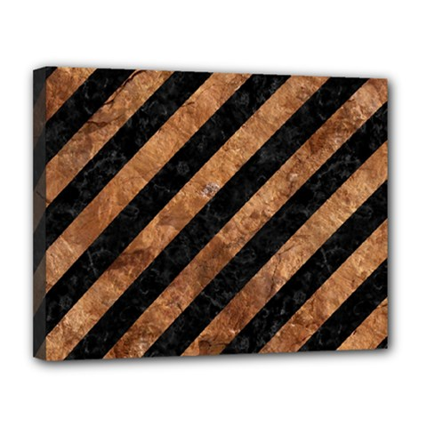 Stripes3 Black Marble & Brown Stone Canvas 14  X 11  (stretched) by trendistuff