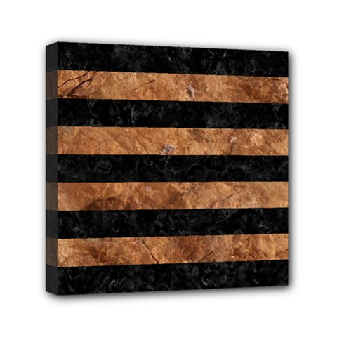 Stripes2 Black Marble & Brown Stone Mini Canvas 6  X 6  (stretched) by trendistuff