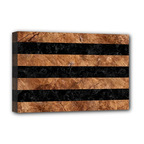 Stripes2 Black Marble & Brown Stone Deluxe Canvas 18  X 12  (stretched) by trendistuff