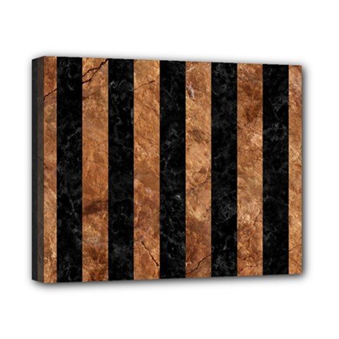 Stripes1 Black Marble & Brown Stone Canvas 10  X 8  (stretched) by trendistuff