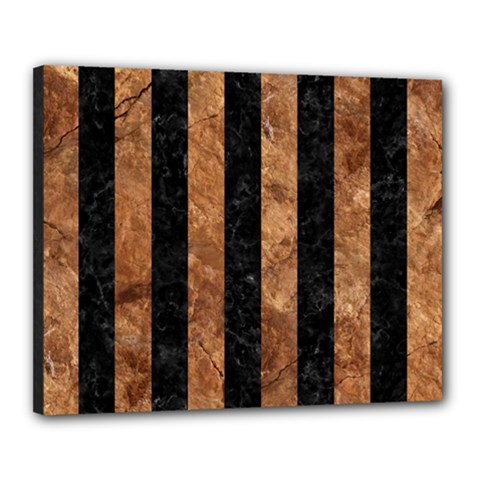 Stripes1 Black Marble & Brown Stone Canvas 20  X 16  (stretched) by trendistuff