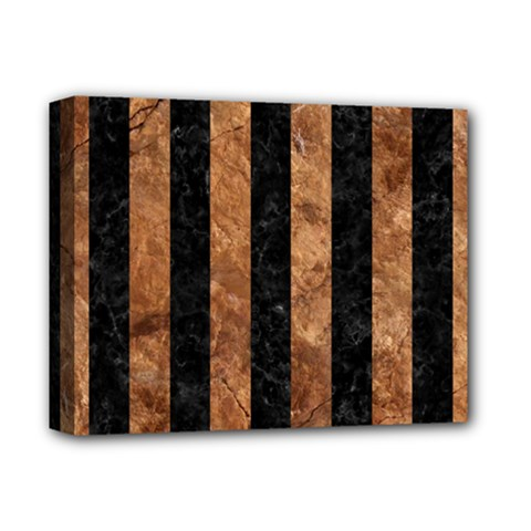 Stripes1 Black Marble & Brown Stone Deluxe Canvas 14  X 11  (stretched) by trendistuff
