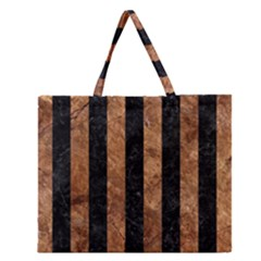 Stripes1 Black Marble & Brown Stone Zipper Large Tote Bag by trendistuff