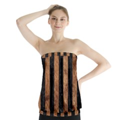 Stripes1 Black Marble & Brown Stone Strapless Top