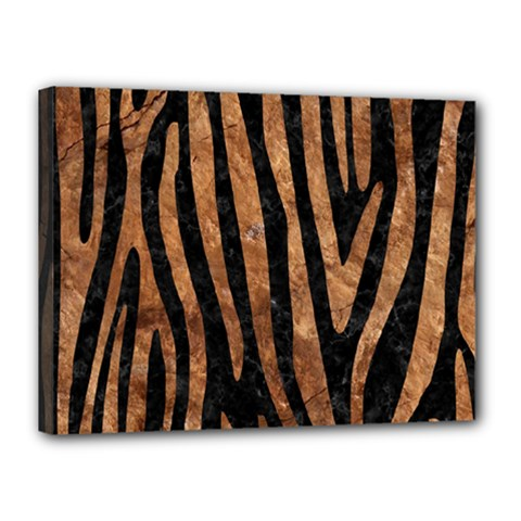 Skin4 Black Marble & Brown Stone (r) Canvas 16  X 12  (stretched) by trendistuff