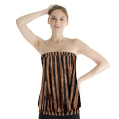 Skin4 Black Marble & Brown Stone Strapless Top by trendistuff
