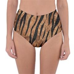 Skin3 Black Marble & Brown Stone (r) Reversible High Waist Bikini Bottoms