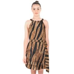 Skin3 Black Marble & Brown Stone (r) Halter Collar Waist Tie Chiffon Dress