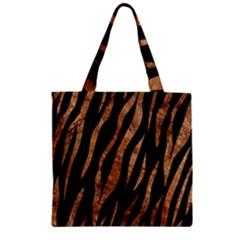 Skin3 Black Marble & Brown Stone Zipper Grocery Tote Bag by trendistuff