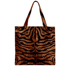 Skin2 Black Marble & Brown Stone (r) Zipper Grocery Tote Bag by trendistuff