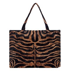 Skin2 Black Marble & Brown Stone Medium Tote Bag by trendistuff