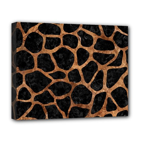 Skin1 Black Marble & Brown Stone (r) Deluxe Canvas 20  X 16  (stretched) by trendistuff