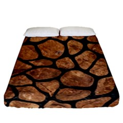 Skin1 Black Marble & Brown Stone Fitted Sheet (queen Size) by trendistuff
