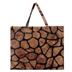 Skin1 Black Marble & Brown Stone Zipper Large Tote Bag by trendistuff