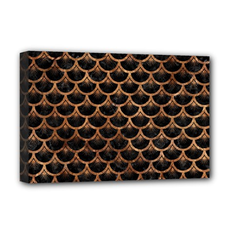Scales3 Black Marble & Brown Stone Deluxe Canvas 18  X 12  (stretched) by trendistuff
