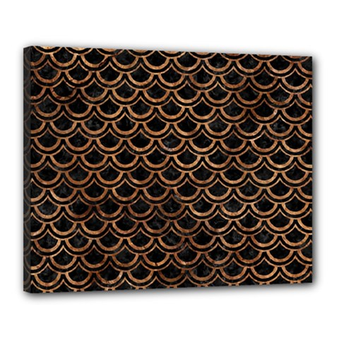 Scales2 Black Marble & Brown Stone Canvas 20  X 16  (stretched) by trendistuff