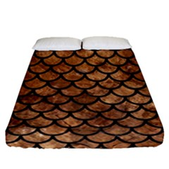 Scales1 Black Marble & Brown Stone (r) Fitted Sheet (queen Size) by trendistuff