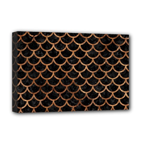 Scales1 Black Marble & Brown Stone Deluxe Canvas 18  X 12  (stretched) by trendistuff