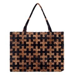 Puzzle1 Black Marble & Brown Stone Medium Tote Bag by trendistuff