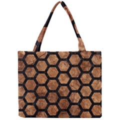 Hexagon2 Black Marble & Brown Stone (r) Mini Tote Bag by trendistuff