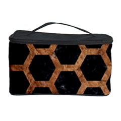 Hexagon2 Black Marble & Brown Stone Cosmetic Storage Case by trendistuff