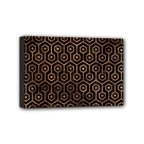 Hexagon1 Black Marble & Brown Stone Mini Canvas 6  X 4  (stretched) by trendistuff
