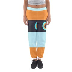 Orange, Aqua, Black Spots And Stripes Women s Jogger Sweatpants by theunrulyartist