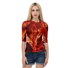 Red Abstract Pattern Texture Quarter Sleeve Tee