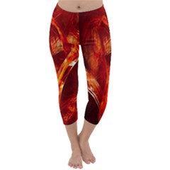 Red Abstract Pattern Texture Capri Winter Leggings