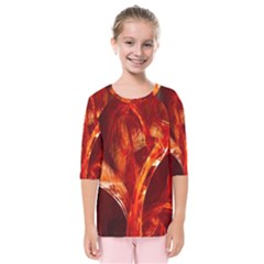 Red Abstract Pattern Texture Kids  Quarter Sleeve Raglan Tee