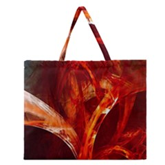 Red Abstract Pattern Texture Zipper Large Tote Bag