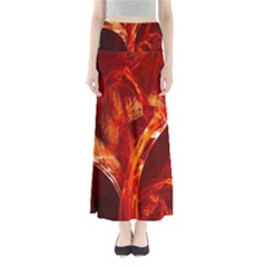 Red Abstract Pattern Texture Maxi Skirts