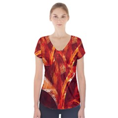 Red Abstract Pattern Texture Short Sleeve Front Detail Top