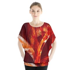 Red Abstract Pattern Texture Blouse