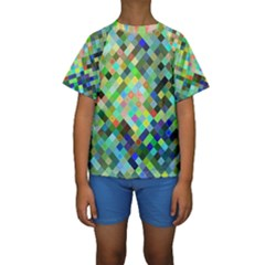 Pixel Pattern A Completely Seamless Background Design Kids  Short Sleeve Swimwear