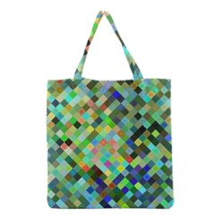 Pixel Pattern A Completely Seamless Background Design Grocery Tote Bag by Nexatart