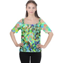 Pixel Pattern A Completely Seamless Background Design Women s Cutout Shoulder Tee