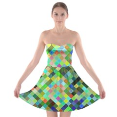 Pixel Pattern A Completely Seamless Background Design Strapless Bra Top Dress