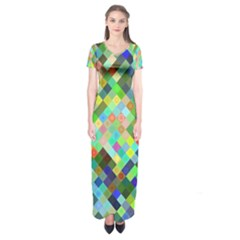 Pixel Pattern A Completely Seamless Background Design Short Sleeve Maxi Dress