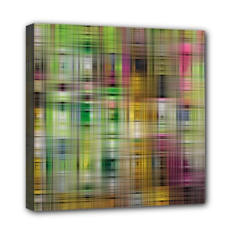 Woven Colorful Abstract Background Of A Tight Weave Pattern Mini Canvas 8  X 8  by Nexatart