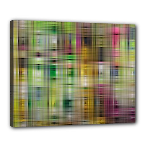 Woven Colorful Abstract Background Of A Tight Weave Pattern Canvas 20  X 16