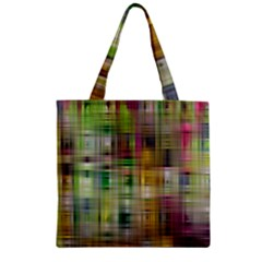 Woven Colorful Abstract Background Of A Tight Weave Pattern Zipper Grocery Tote Bag