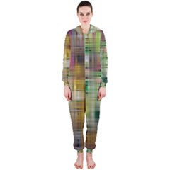 Woven Colorful Abstract Background Of A Tight Weave Pattern Hooded Jumpsuit (ladies)
