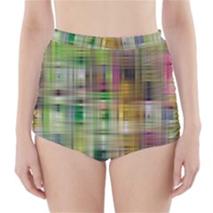 Woven Colorful Abstract Background Of A Tight Weave Pattern High Waisted Bikini Bottoms